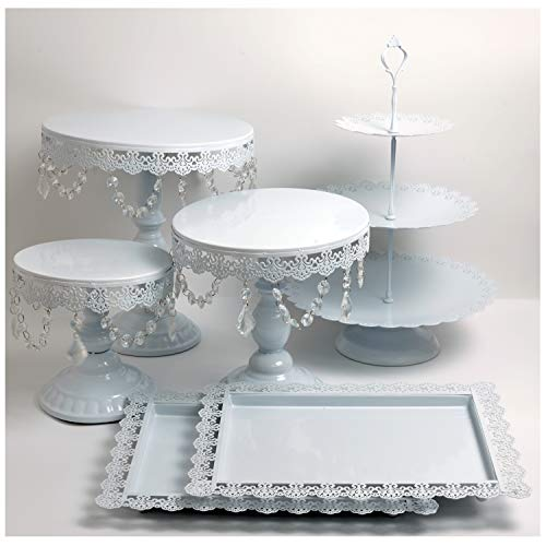 Proshopping 6 Set Antique Metal Cake Stand, Classical Round Cupcake Holder, Cake Plate Tray, Cookie Pedestal Display Tower, for Wedding Birthday Party, with Crystals Pendants and Beads, White