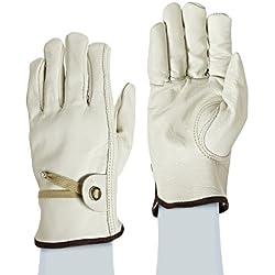West Chester 84055 Premium Grain Cowhide Leather Unlined Driver Glove, XL, Beige