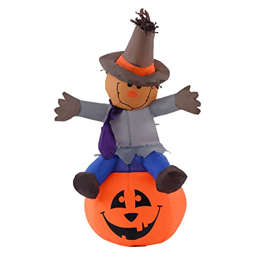 [NEW 4FT Halloween Inflatable Scarecrow Pumpkin Lighted Yard Lawn Decoration Blow up] (Body Central Halloween Costumes)