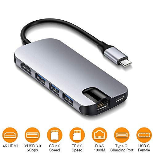 USB C Hub, BEAOK 8 in 1 USB C Adapter with 4K HDMI, Type C Power Delivery, SD/TF Card Reader, Ethernet, 3 USB 3.0 Ports for MacBook Pro and Other USB C Devices, Grey