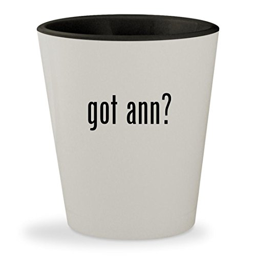 got ann? - White Outer & Black Inner Ceramic 1.5oz Shot - Ann With Lisa Glasses