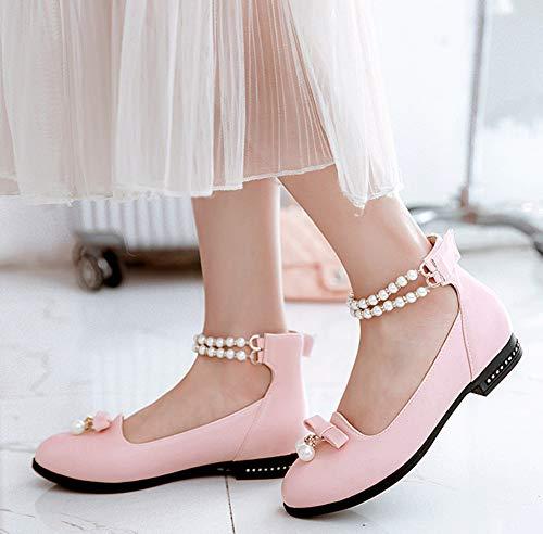 Easemax Etudiante Plate Rose Scratch Femme À Chaussure Ballerines Mignon Perles CnH1xCr