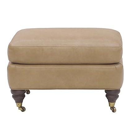 Fantastic Amazon Com Spencer Leather Ottoman Ivory Ballard Short Links Chair Design For Home Short Linksinfo