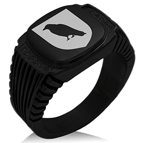 Tioneer Black IP Plated Stainless Steel Raven Bringer of Death Coat of Arms Shield Engraved Black Cubic Zirconia Ribbed Needle Stripe Pattern Biker Style Polished Ring, Size 11