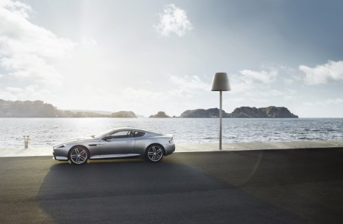 Aston Martin DB9 Coupé (2012) Car Art Poster Print on 10 mil Archival Satin Paper Silver Side Static View 36