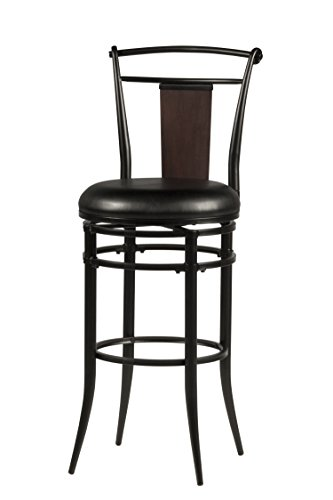 Bar Stool Black Hillsdale Furniture (Hillsdale Midtown 30-Inch Swivel Bar Stool, Black finish with Dark Cherry Accented Back and Black Vinyl Upholstry)