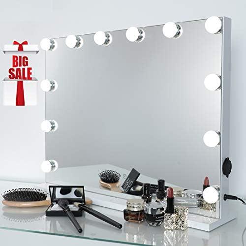 iCREAT Hollywood Spiegel Schminkspiegel mit Licht 12 Glühbirnen 3 Lichtfarben Dimmbar Wand Tischspiegel professioneller Theater Spiegel zu Händen Schminke Lover 58X44 cm