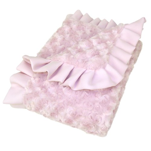 Trend Lab Swirl Velour Ruffle Trimmed Receiving Blanket, Pink