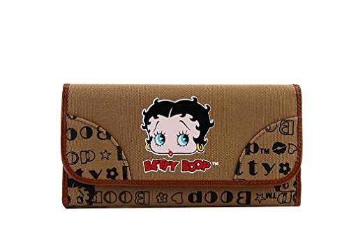 Betty Boop Tri-fold Microfiber Wallet with Betty Boop Signatures (Tan)