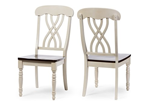 Baxton Studio Set of 2 Newman Chic Country Cottage Antique Oak Wood and Distressed White Dining Side Chairs