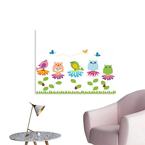 J Chief Sky Flowers Poster Print Colorful Cartoon Style Birds on Chamomile Daisy Flowers Butterflies Ladybugs Kids Wall Decals for Kids W48 xL32