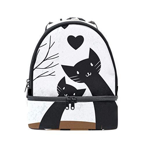 para el hombro la Lunch térmica Alinlo Tree escuela with Couple Love para ajustable de pincnic Bag Bolsa con Cat Heart correa ZqwqFOB6