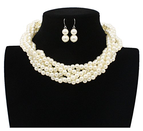 Shineland Twisted Multilayer Strand Faux Pearls Beads Cluster Choker Necklace And Earrings Set ()