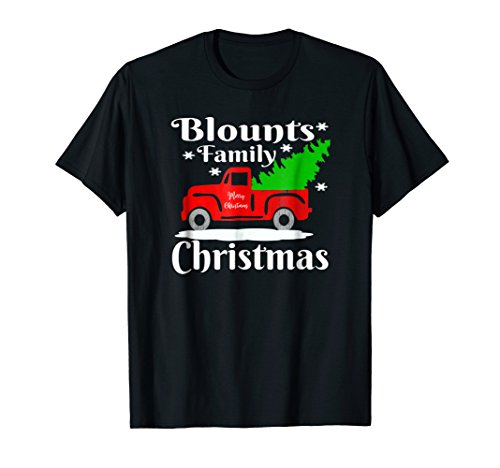 Blounts Family Christmas Shirt Old Red Truck Christmas Tree