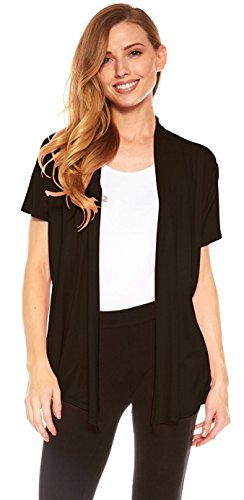 Red Hanger Cardigans for Women - Short Sleeve Womens Open Cardigan Sweaters (Black-XL) (Sleeve Long Cardigan Short)