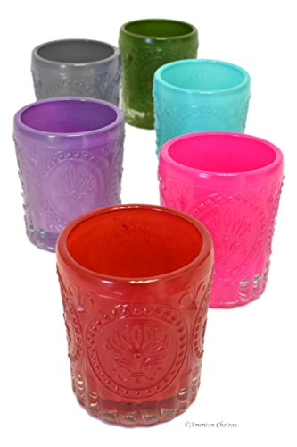 Set 6 Assorted Color Embossed Vintage-Style Glass Tealight Votive Candle - Votive Glass Embossed