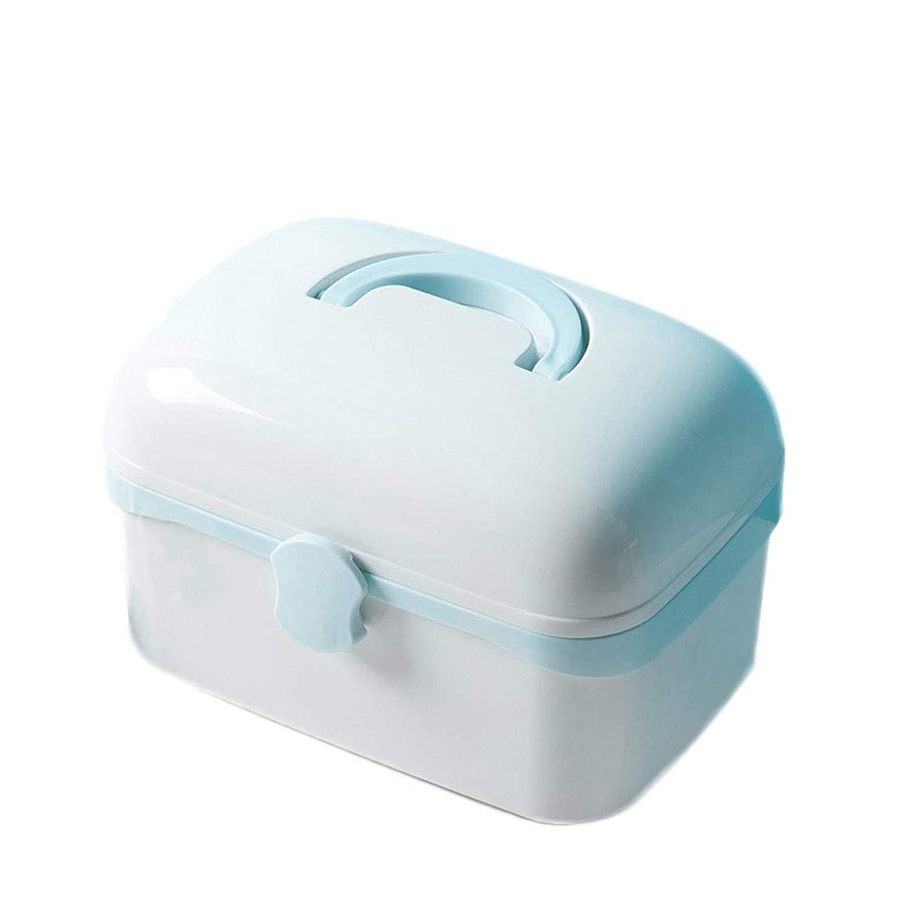 Medicine box Drug Storage Box Household Small Multi-Layer Portable Portable Emergency Box HUXIUPING (Color : Blue, Size : S)