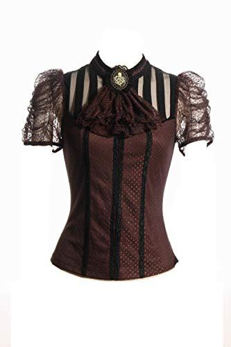 HaoLin Steampunk Brocade Shirt Gothic Clothing Women Punk Pirate Renaissance Lace Tops (M)