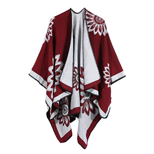 Women's Soft Cashmere Scarves Warm Blanket Oversized Poncho Cape Elegant Cardigan Shawl Wrap Sweater for Fall Winter (Red, One Size)