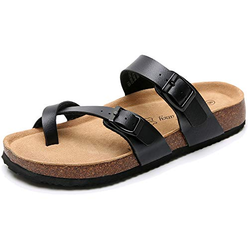 Real Fancy Women's Comfort Toe Ring Flat Cork Leather Sandals with Adjustable Buckle Strap Soft Cow Suede Open Toe Summer Slide Shoe - Toe Ring Leather