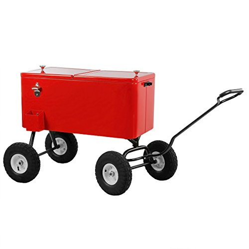 Clevr 80 Quart Qt Party Wagon Cooler Rolling Cooler Ice Chest, Red, w/Long...