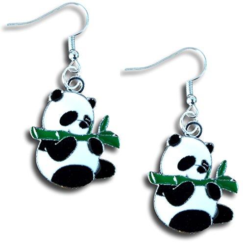 Pashal Panda Bear Eating Bamboo Leaf Dangle Earrings