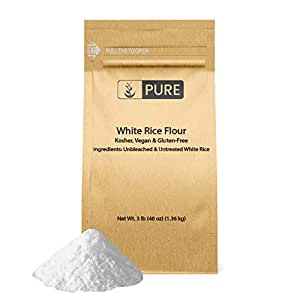 White Rice Flour (3 lb.) by Pure Organic Ingredients, Gluten-Free, Fat-Free, Sodium-Free, Unbleached & Untreated, Vegan