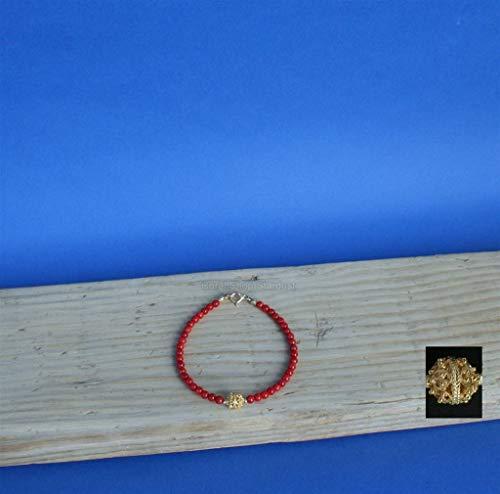 Small Round Bead Mediterranean Red Coral Bracelet, 14k Gold Bracelet, Dubrovni Filigree Ball Bracelet *Exp (14k Coral Bracelet)