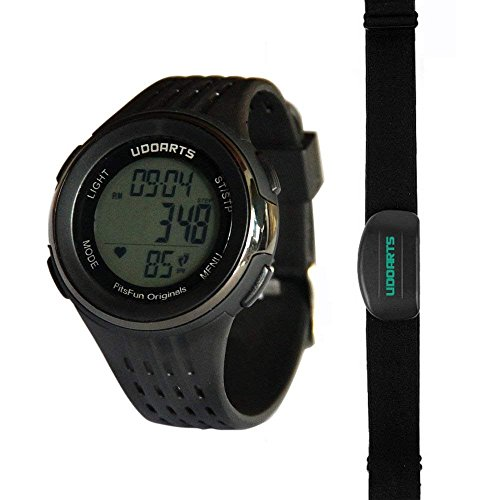 UDOARTS HRM with Pedometer- Heart Rate Monitor & Chest Strap 2&Pack of 5 Batteries &Screwdriver (Black)