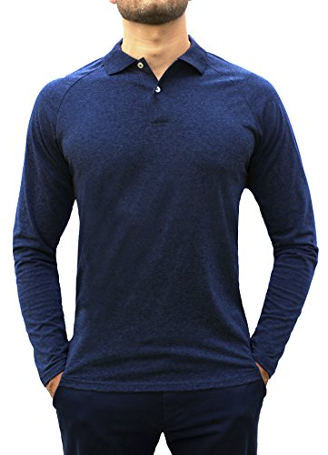 Comfortably Collared Men's Perfect Slim Fit Long Sleeve Soft Fitted Polo Shirt, Large, Navy Blue - Blue Long Sleeve Polo Shirt