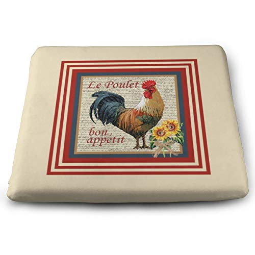 (Milyla-ltd French Country Rooster Chair pad Seat Cushion with Memory Filling for Office Indoor Home Dining Kitchen)