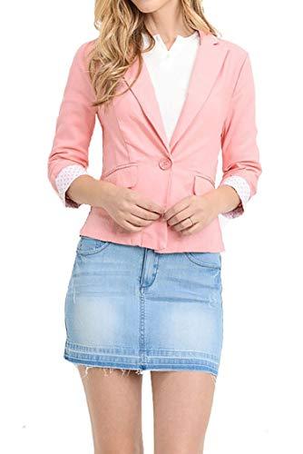 (Plus Size Solid Cuff Polka 3/4 Sleeve Pocket Button Closure Blazer Jacket Pink XL)