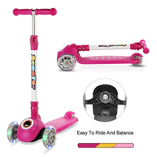 Kick Scooter for Kids, 3 Wheel Scooter for Toddlers Girls&Boys with Folding T-Bar, 4 Adjustable Height and Flashing PU Wheels, Lean to Steer for Children from 2-14 Year-Old (Rose Red)