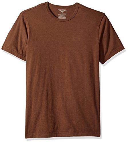 Jersey Henley Cotton (Dockers Men's Short Sleeve Cotton Solid Jersey Tee,Sierra Brown,Medium)