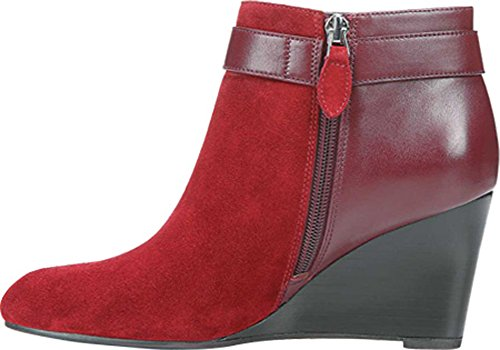 Franco Sarto Womens Lucita Wedge Bootie Bordo Brushed Suede/Sheep Leather 5bhJbBIP