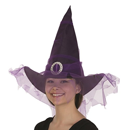 Black Witch Hat with Purple Veil Standard