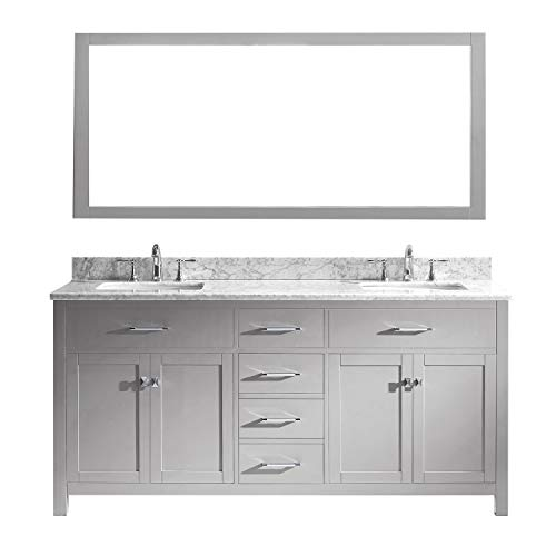- Virtu USA MD-2072-WMSQ-CG Caroline Double Bathroom Vanity with Marble Top/Square Sink with Mirror 72 inches Cashmere Grey