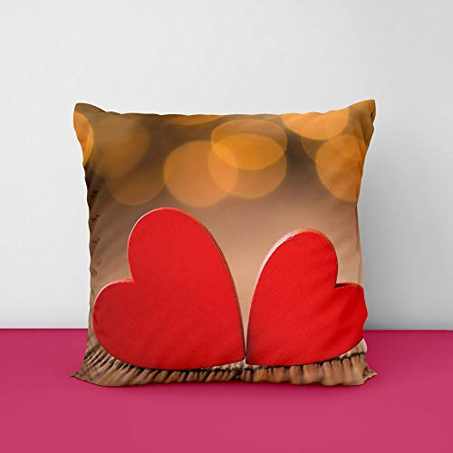 4145OO1RqIL Tow Heart Square Design Printed Cushion Cover
