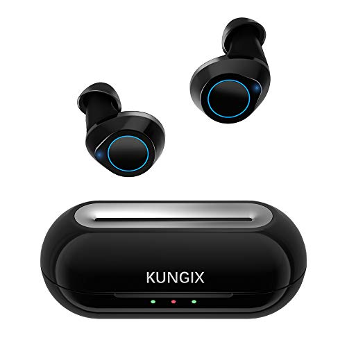 Wireless Earbuds KUNGIX Bluetooth 5.0 True Wireless Headphones, Deep Bass 3D Stereo Sound Touch Mini Noise Cancelling Earphones, Sweatproof Sports TWS Earbuds Built in Microphone for iPhone Android (Best Sound Cancelling Earphones)