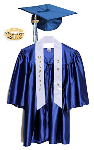Medium Blue Shiny Preschool and Kindergarten Graduation Cap and Gown, Tassel and 2019 Charm -
