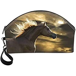 Horse Decor Small Portable Cosmetic Bag,Chestnut Horse Profile on Dramatic Cloudy Sunset Sky Strong Wild Young Mammal Decorative For Women,Half Moon Shell Shape One size
