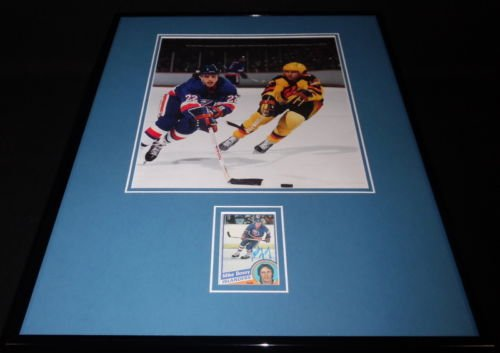 Mike Bossy Signed Framed 16x20 Photo Display NY Islanders C