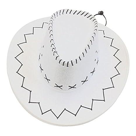 9f1b2b11be7 Amazon.com  TOOGOO(R) Cowboy Cowgirl hat Retro Unisex Denim Wild West  Cowboy Cowgirl Rodeo Fancy Dress Accessory Hats White  Sports   Outdoors