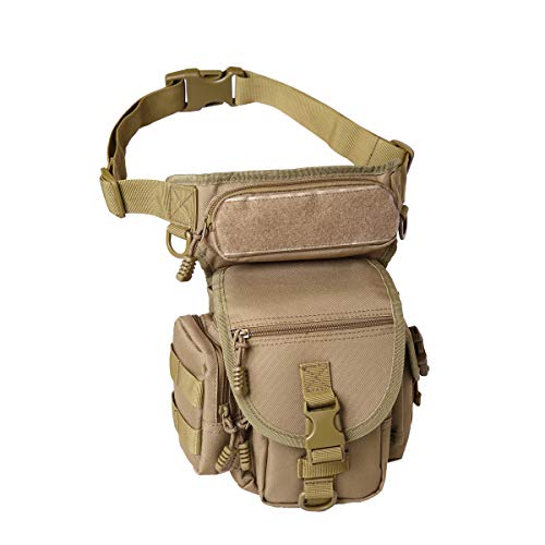BondFree Military Drop Leg Pouch Tactical Leg Bag Tools Bags Purse Bum Bag Fanny Pack Thigh Bags Hip Bag Bike Cycling Hiking Bag (Brown)