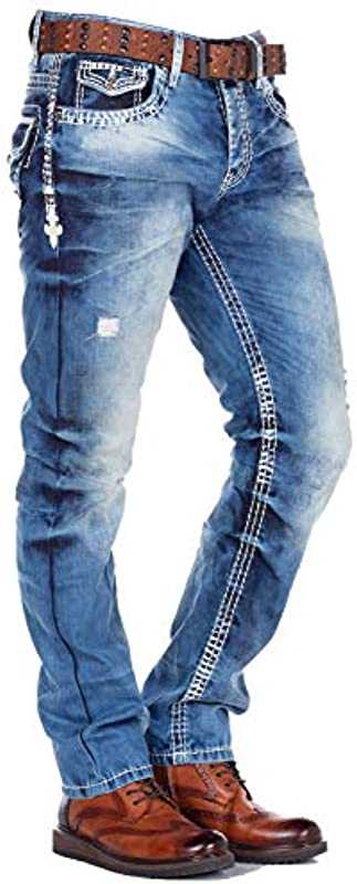 Cipo Baxx męskie spodnie dżinsowe z grubymi szwami, proste dopasowanie, denim: Odzież