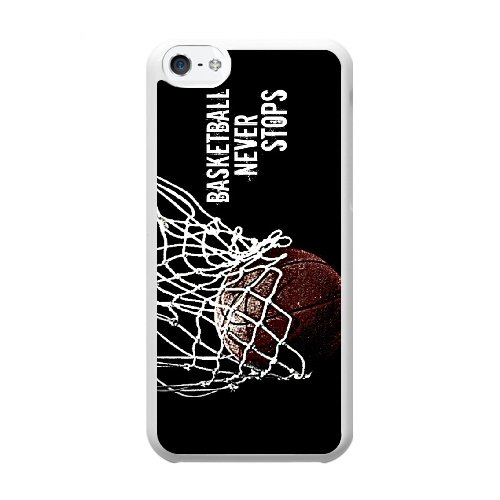 Coque,Coque iphone 5C Case Coque, Basketball Never Stop Cover For Coque iphone 5C Cell Phone Case Cover blanc
