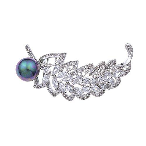 YAZILIND perla pluma broche collar PIN cobre micro con incrustaciones de circón ramillete de alta calidad accesorios de ropa...