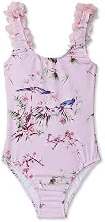197de7aa22 Stella Cove Girls Pink Flower Print Ruffle Shoulder One Piece Swimsuit 6-12