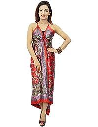 Sleeveless Maxi Assymetric Dress Poly Satin Gypsy Women Wear Beach Clothing