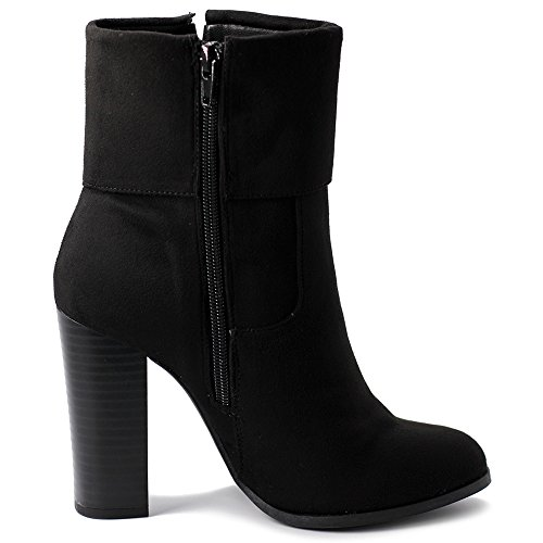 Ollio Shoe Tassel Boots Faux Women's Up Zip Heel Stacked Ankle Black Back High Suede rq1rwnfC